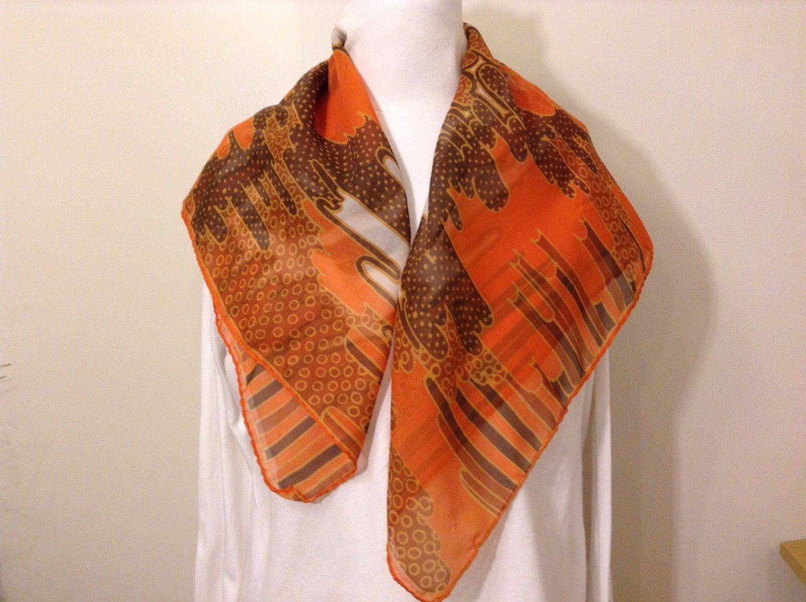 Vintage Orange Brown White Abstract Pattern Scarf Wrap 100% Polyester