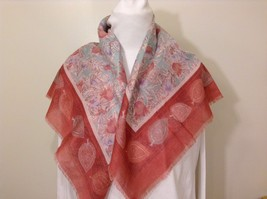 Vintage Japan Squares Floral Scarf Shawl Wrap Pinkish Red Turquoise Purple