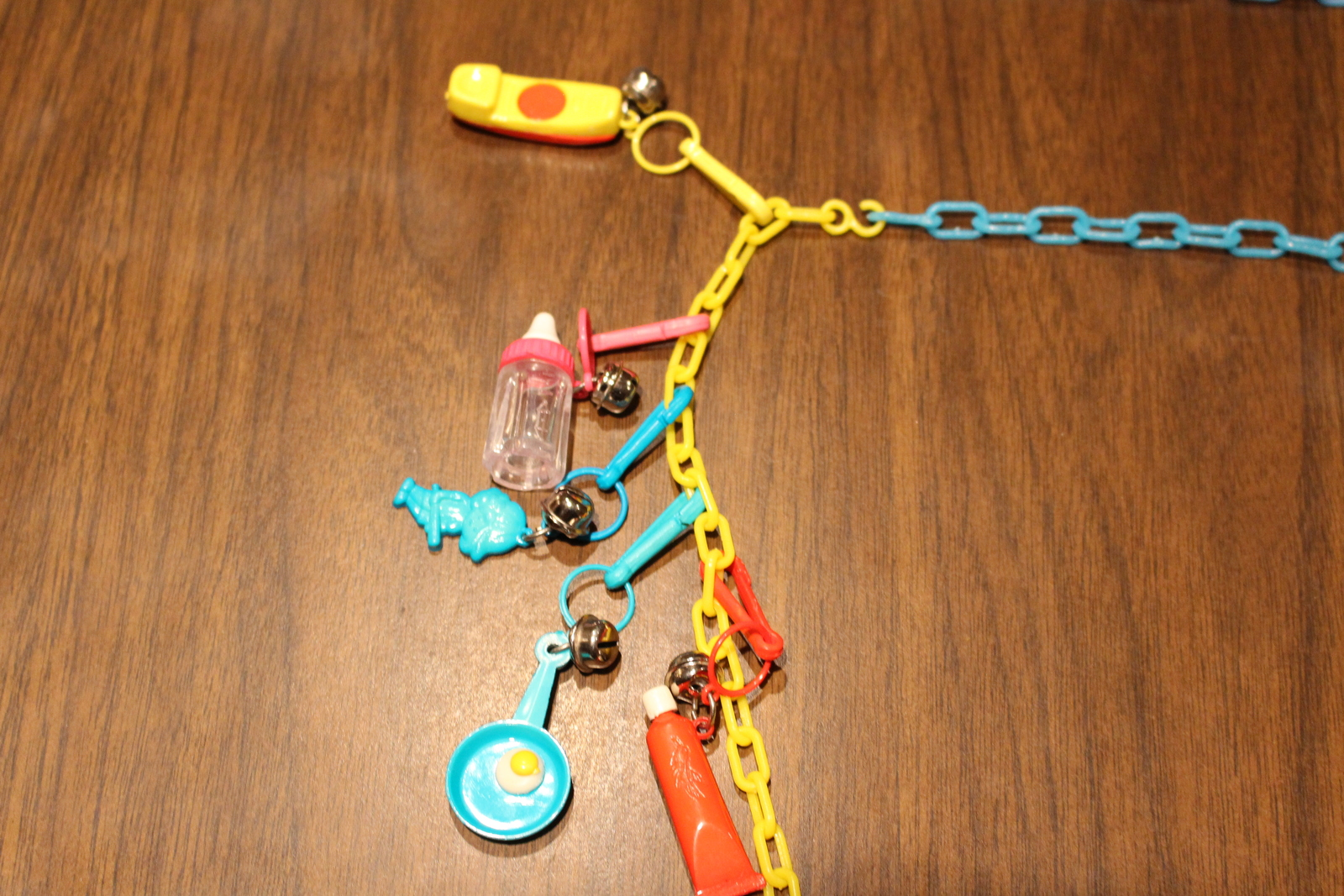 Rare Vintage Retro Original Plastic Bell Clip Charm Toy Necklace 80's