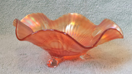 Carnival Glass Vintage Depression Marigold Iridescent 3 Footed Ribbon Ru... - $57.95