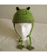 Frog Hat with Ties for Children - Animal Hats - Large - $16.00
