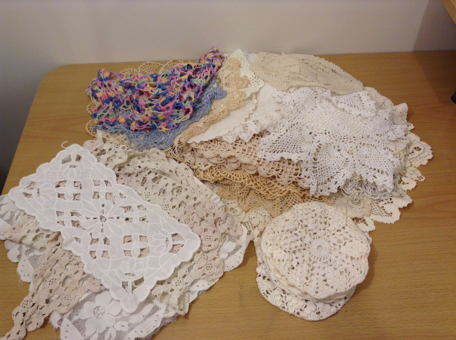 Huge Lot Collection of 42 Vintage Handmade Crochet Doily Different Shapes Sizes