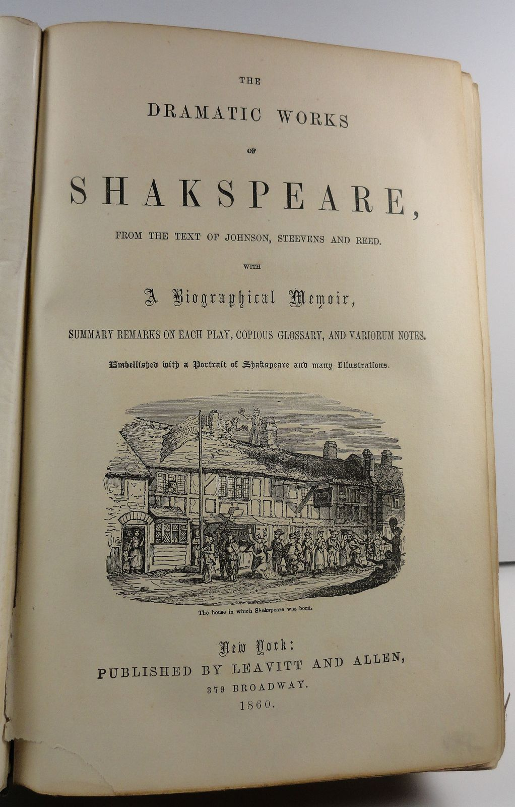 Dramatic Works of Shakspeare Johnson Steevens and Reed 1860