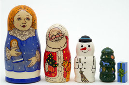 How the Russian Snow Maiden Helped Santa Claus Nesting Doll and Book Set - $56.68