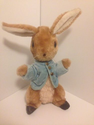VTG Peter Rabbit Stuffed Animal Beatrix Potter Eden Plush Bunny 15`` Blue Coat