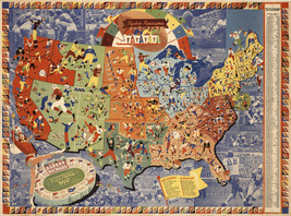 1939 Albert Richard US Football Map College Pros Vintage Wall Art Poster... - $12.38+