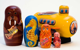 "Yellow Sub w/ Sea Musicians Nesting Doll  - 6"" w/ 5 Pieces - $70.00"