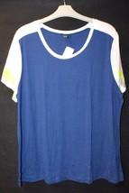 "New Womens Plus Size 3X Blue White Yellow Tee Shirt Top W Faux ""Mesh Sleeves"" - $15.47"