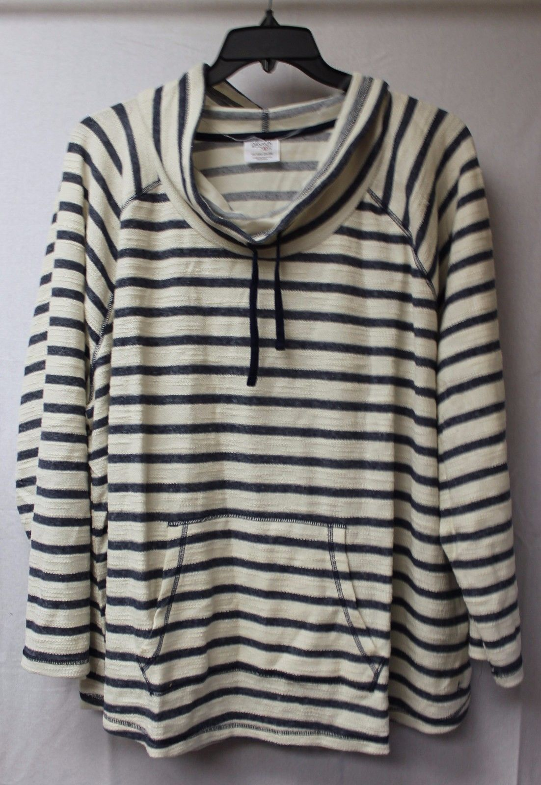 a1fea671267 NEW WOMENS PLUS SIZE 4X 26W 28W BLUE STRIPED PULLOVER COWL NECK HOODIE HOODY