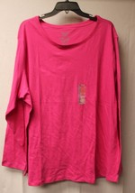NEW WOMENS PLUS SIZE 4X 26W 28W BRITE PINK LONG SLEEVE CREW NECK TEE T S... - $16.44