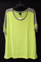 """New Womens Plus Size 3X Neon Yellow & Gray Tee Shirt Top W Faux """"Mesh Sleeves"""" - $14.50"""
