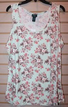 New Womens Plus Size 3X Mint Green Bouquet Floral Soft Brushed Tank Top Shirt - $16.43