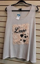 New Womens Plus Size 3X Love Rose Petal Hearts Heart Soft Hacci Tank Top Shirt - $18.37