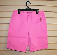 NEW LANDS END GIRLS SIZE 12+ BRIGHT PINK SOLID BERMUDA ABOVE KNEE SHORTS... - $7.84