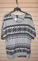 New Plus Size 3X Fair Isle Super Soft Brushed Knit Black Gray Dolman Top Shirt - $15.47