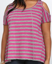 New Torrid Womens Plus Size 4X 4 Gray & Pink Cold Shoulder Swing Tee Shirt Top - $24.18