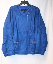NEW WHO WHAT WHERE WOMENS PLUS SIZE 2X 3X BLUE MOD MOTO MOTORCYCLE JACKE... - $33.85