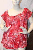 New Womens Plus Size 3X Red Folklore Smocked Off Shoulder Shirt Top Work Or Play - $19.34