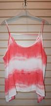 New Womens Plus Size 3X Orange Tie Dye Sharkbite Flowy Gauze Tank Top Shirt - $19.34
