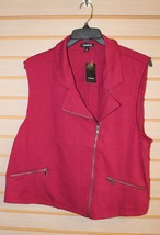 New Torrid Womens Plus Size 4X 4 Red Moto Motorcycle Lil Cropped Vest Jacket - $38.69