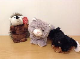 Lot of 3 Stuffed Animals Plush Toys All new NWT Gray Cat Dog Puppy Hedgehog