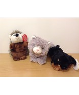 Lot of 3 Stuffed Animals Plush Toys All new NWT Gray Cat Dog Puppy Hedgehog - $24.74