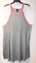 NEW WOMENS PLUS SIZE 3X GRAY W PINK RINGER TRIM STRETCHY HIGH NECK SKATE... - $19.34