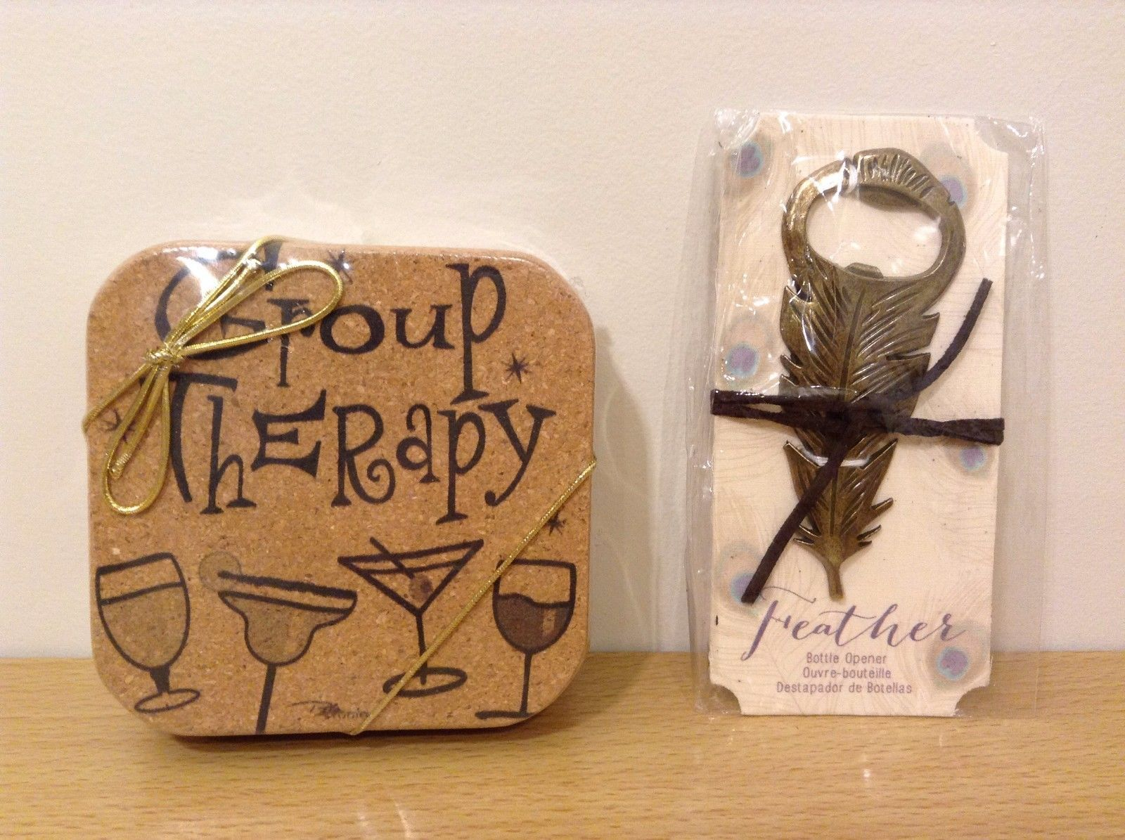 Lot of 2 Cork Coasters Set of 4 Group Therapy and Feather Bottle Opener New
