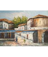 Oil Painting Outdoor Street Scene Village Women Buildings Signed - $9.90