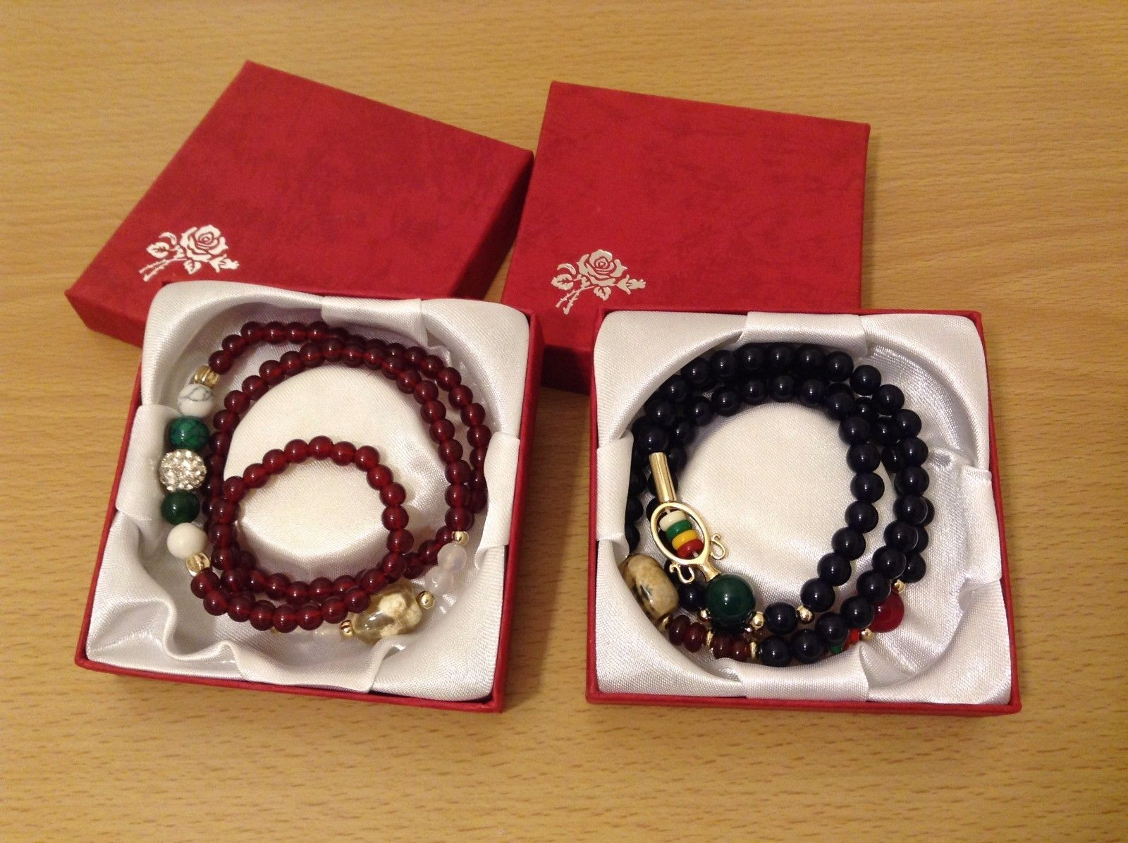 New In Gift Boxes MAD 3 Wrap 2 Bracelets Simulated Garnet Color Navy Blue Beads