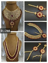 Kundan Necklace Earrings Mathapatti harness Ethnic Bridal Set New Designs Beau02 - $89.09