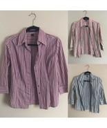 3 Express Women's Stretch L/S Button Down Striped Dress Shirt Small Three - $33.85