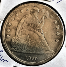 1860 dollar Liberty Seated 90 percent Silver, Excellent, in stock .guara... - $54.95
