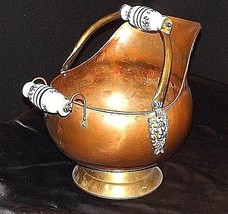 Cauldron Kettle with Glass Handle w/Blue Flowers Vintage Brass AA18-1032 image 1