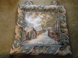 Outstanding Vintage Wall Hanging TAPESTRY..Early 1900's French Town Scen... - $51.48