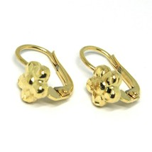 18K YELLOW GOLD KIDS EARRINGS, FINELY HAMMERED FLOWER DAISY LEVERBACK CLOSURE image 2
