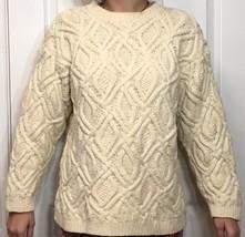 Eddie Bauer Chunky Cable Knit Sweater Medium Womens Cream Cotton High Ne... - $19.80