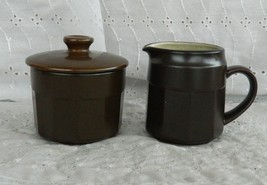 The Salem China Co Brown Stoneware Lidded Sugar Bowl & Creamer Set Cream... - $24.99