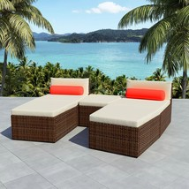 vidaXL Outdoor Modular Sofa Set 14 Piece Wicker Poly Rattan Brown Sun Lounger - $384.99