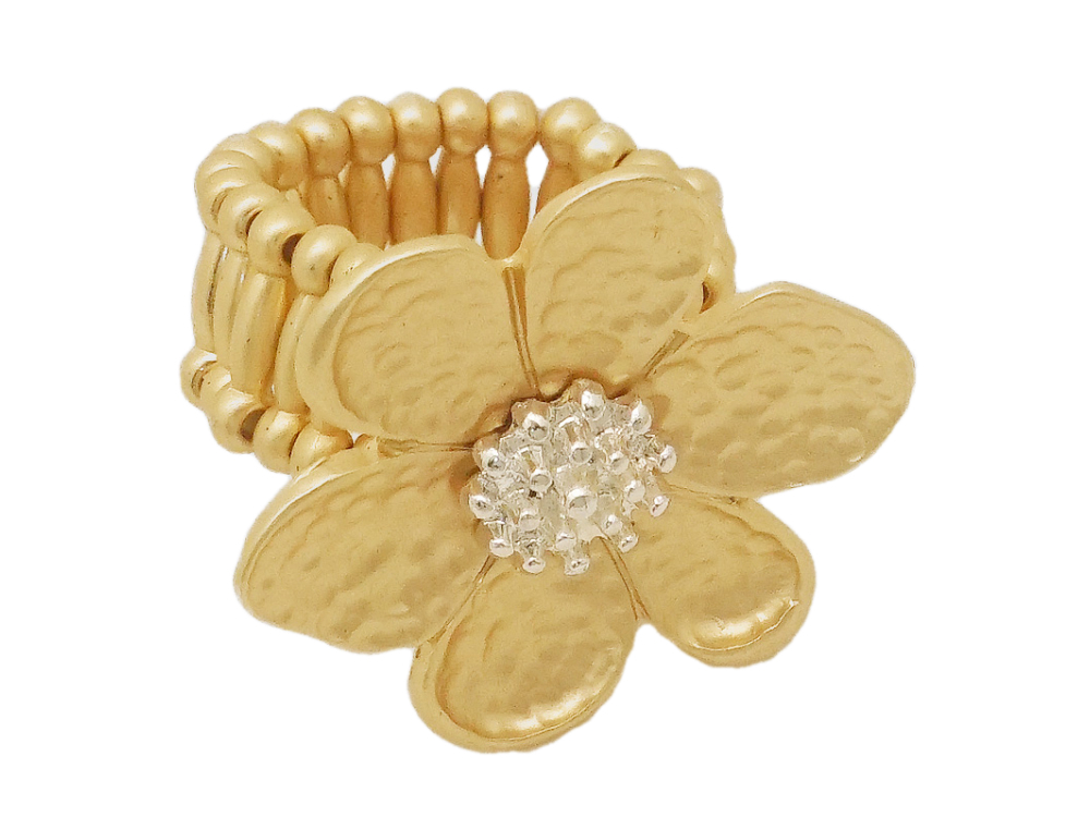 Colorful & Fun Floral Flower Metal Stretch Ring