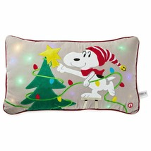Hallmark Peanuts Snoopy Decorating Christmas Tree Light-Up Pillow New wi... - $65.65