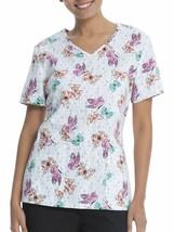 """Scrubstar """"Butterfly Express"""" Women's V-Neck Print Top (Size M) - $22.30"""
