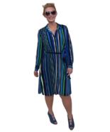 Susan Graver Medium Printed Liquid Knit Button-up Shirt Dress Black Spea... - $32.44
