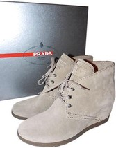 Prada Beige Suede Ankle Bootie Small Wedge Boot Lace Up Shoe Pump 37 - $299.99