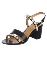 NIB Tory Burch Emmy Block Heel 65MM Pearl Leather Sandal BLACK US 8 AUTHENTIC - $227.42