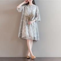 Summer Dress Linen Dresses A-Line Traditional Dresses Short Sleeve Plus Size Sun - $43.86