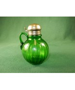 Vintage Syrup Pitcher, Green Glass, Ribbed Pattern, Brass Lid ~ #SP05 - $68.55