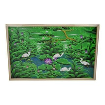Large Art Deco Textile Art Painting Professionally Framed  - $2,495.00