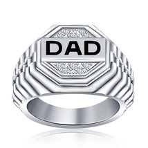 White Gold Plated 925 Sterling Silver Round Cut Diamond & Black Enamel Dad Ring - $94.99