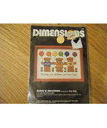 1987 DIMENSIONS Bears & Balloons CREWEL EMBROIDERY KIT  6147 NEW rainbow... - $6.99